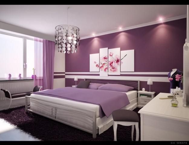camera-da-letto-con-pareti-lilla