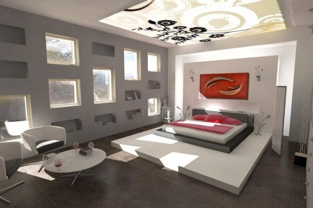 camera-da-letto-con-quadri-sul-soffitto