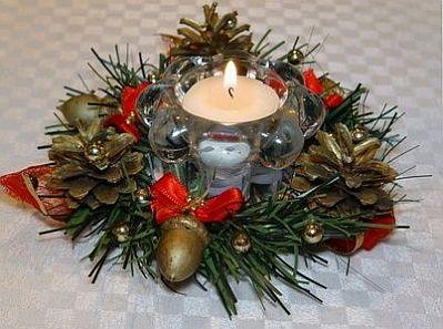Decoración para Navidad, Centros de Mesa con Velas 11