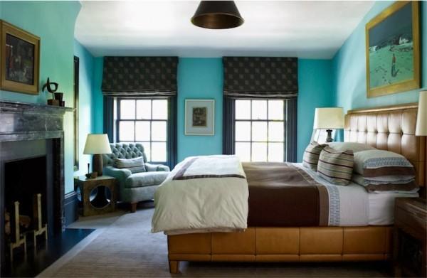 dormitorio en turquesa y marron