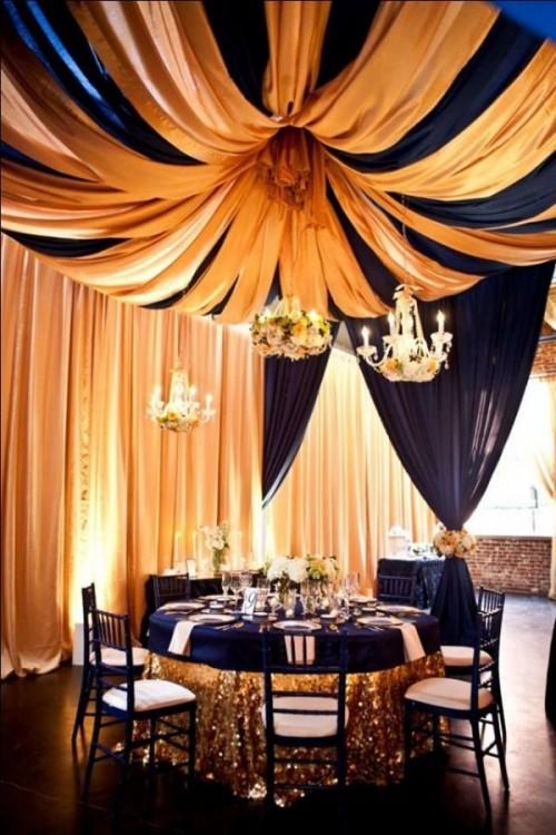 salones con telasnaranja-y-azul-para-boda