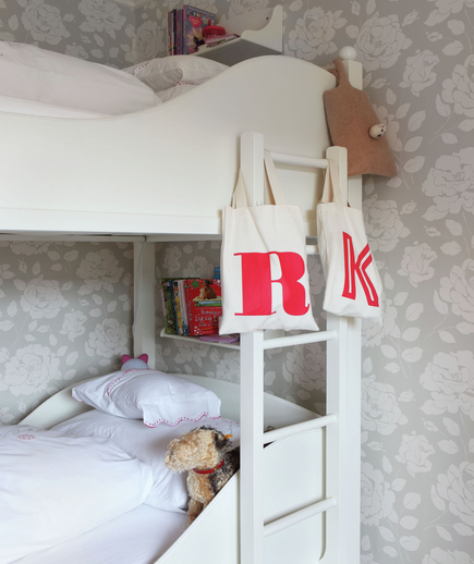 Floral wallpaper, bunk beds and ladder, initialed canvas bags, R & K 25 BH 06/2012 pub orig