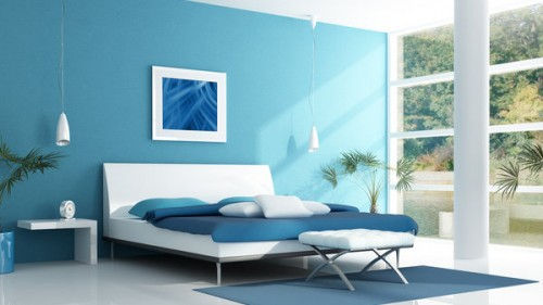 blue bedroom in a lake house - rendering
